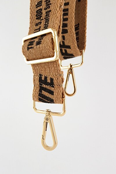 Kahverengi Off-white Çanta Askısı Gold Metal