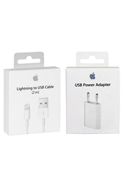 Apple Iphone Orjinal Şarj Cihazı Seti Adaptör + {2 Metre} Kablo 2 Li Set