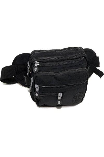 çok gözlü kumaş bel çantası 26 cm 16 cm siyah