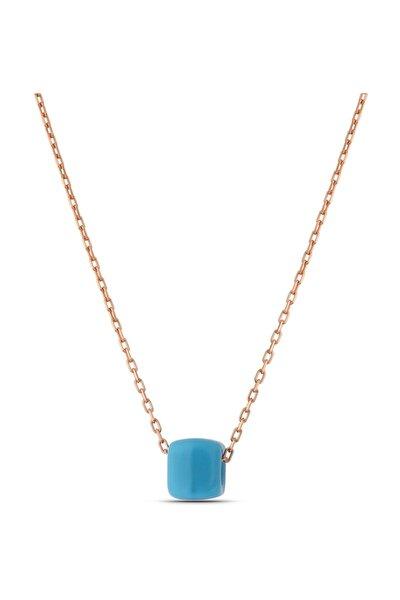 Mavi Boncuklu Klasik Gümüş Kolye Kadın Rose