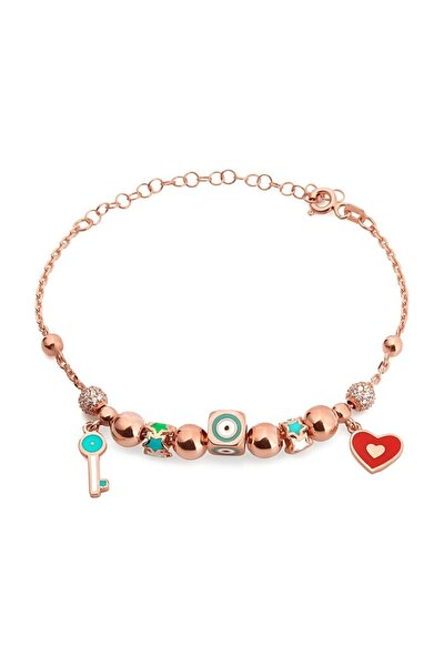 Mineli Kalp Anahtar Bileklik Kadın Rose