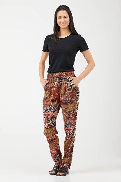 Kadın Desenli Rahat Kesim Pantolon - Mercan