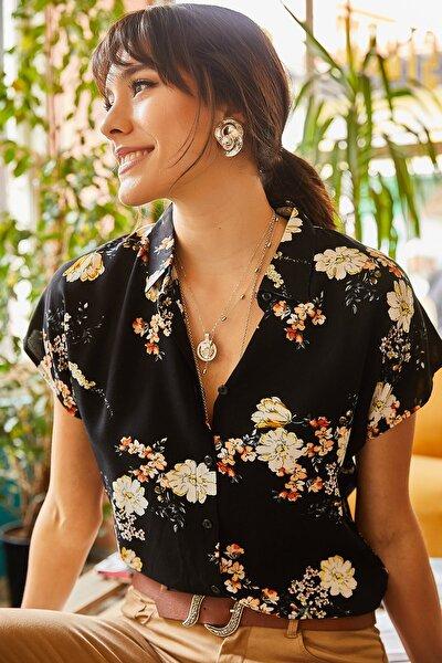 Kadın Siyah Hardal Çiçekli Yarasa Viskon Gömlek GML-19000613