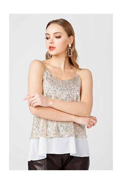Kadın Gold Pul Payet Bluz