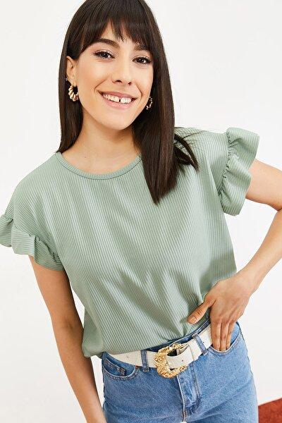 Kadın Mint Yeşili Kolu Fırfırlı Kaşkorse Bluz 10051015