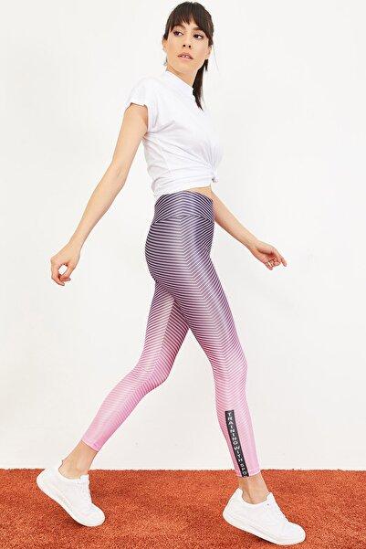 Kadın Çok Renkli Dijital Baskılı Yüksek Bel Toparlayıcı Spor Tayt 10051022