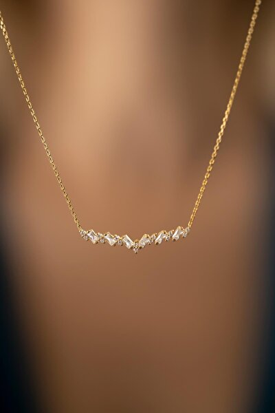 Kadın Baget Taşlı Altın Kaplama Gümüş İtalyan Kolye PKT-TLYSLVR0803