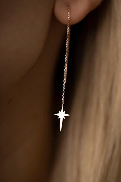 Kadın Kutup Yıldızı Sallantılı Rose Kaplama Gümüş İtalyan Küpe PKT-TLYSLVR0445