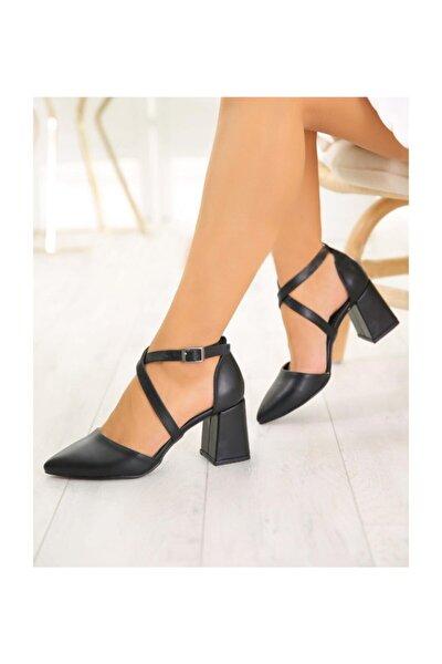 Kadın  Siyah Deri Topuklu Ayakkabı Bantlı Kalın Topuk Ayakkabı