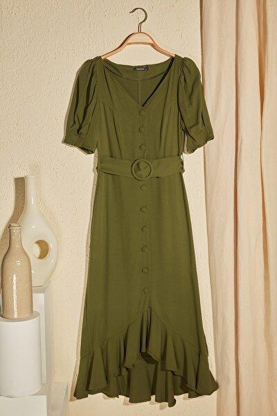 Haki Kemerli Düğmeli Elbise TWOSS20EL2520