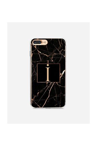 Iphone 7 Plus Siyah Mermer Desen I Harfli Telefon Kılıfı