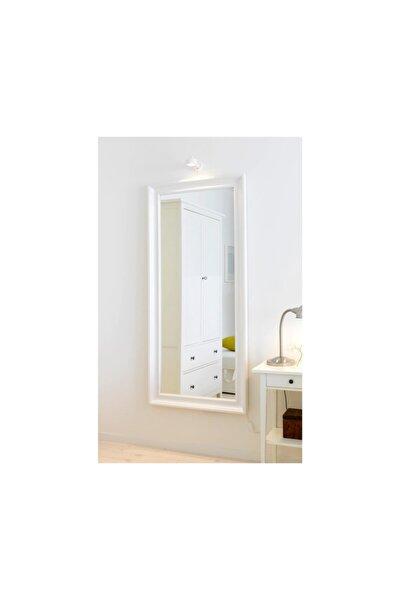 Dekoratif Salon ofis Boy Aynası Düz Çerçeve Beyaz 50cm X 110cm