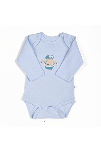 Erkek Bebek Uzun Kollu Organik Çıtçıtlı Mavi Body