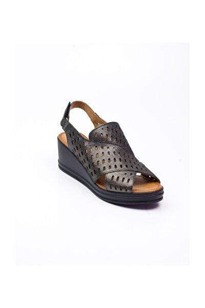 201238 Kadın Simli Deri Sandalet Siyah