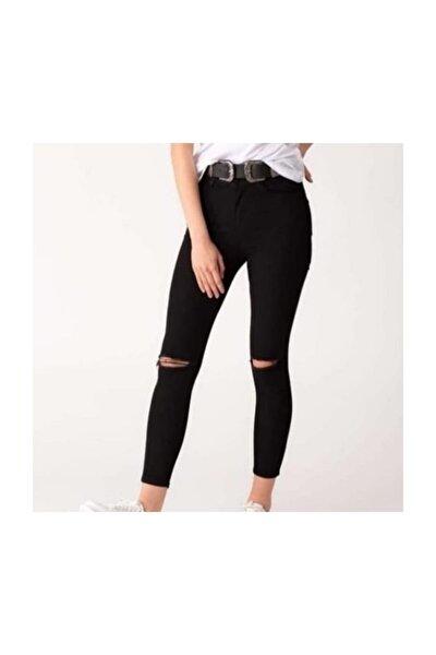 Bayan Siyah Dizi Yırtık Pantolon