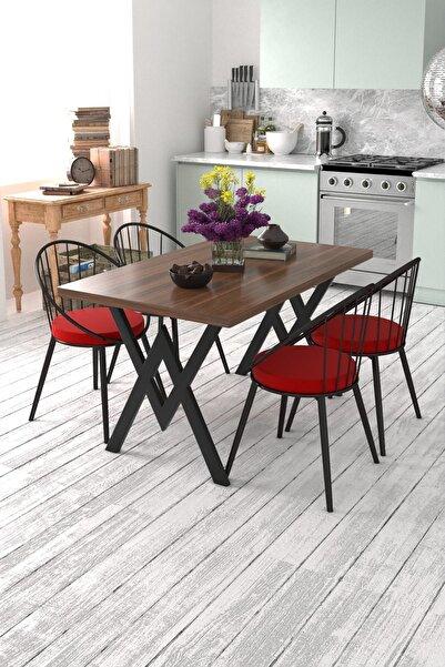 Eylül 4 Kişilik Mutfak Masası Takımı Ceviz Kırmızı