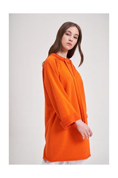 Mızalle Youth Yaka Bağcıklı Sweatshirt (turuncu)