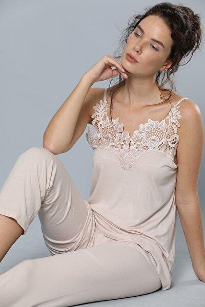 Ip Askılı Dantel Detaylı Viskon Pijama Takım