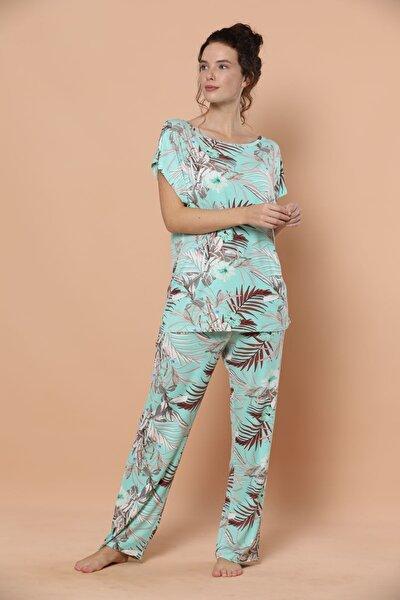 Kısa Kollu Viskon Pijama Takım