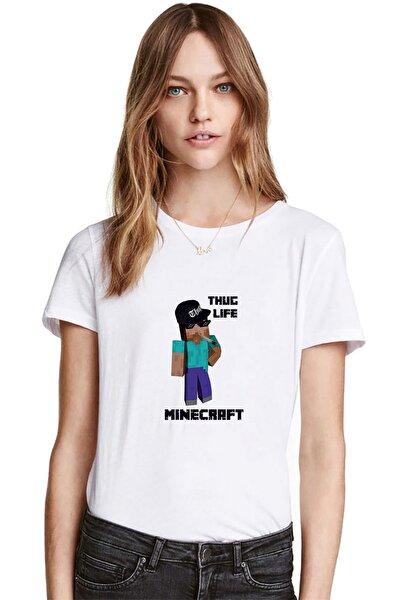 Mine Craft Thug Life Baskılı Beyaz Kadın Tshirt