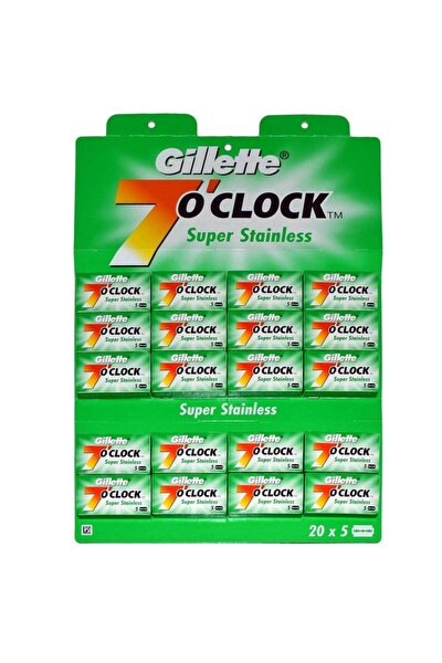 7 O'clock Tıraş Bıçağı Çift Kenarlı Jilet 5x20'li (100'lü) Kartela