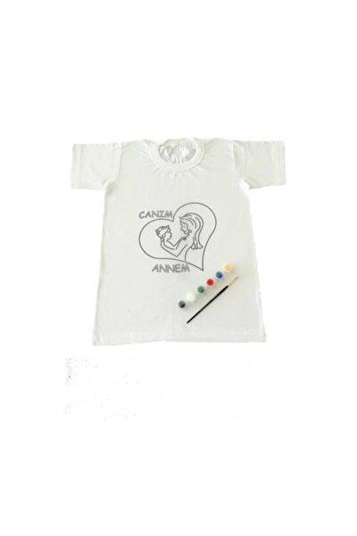 12-13 Yaş Tişört Boyama Seti+kumaş Boyama+canım Annem Çocuk Desenli