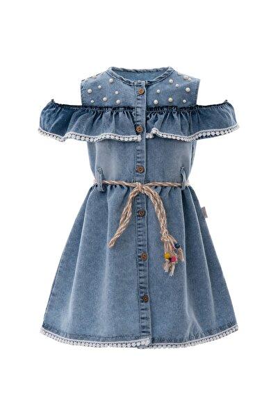 Kız Çocuk Elbise İncili Kot Hasır Kemerli 6-9 Yaş Mavi