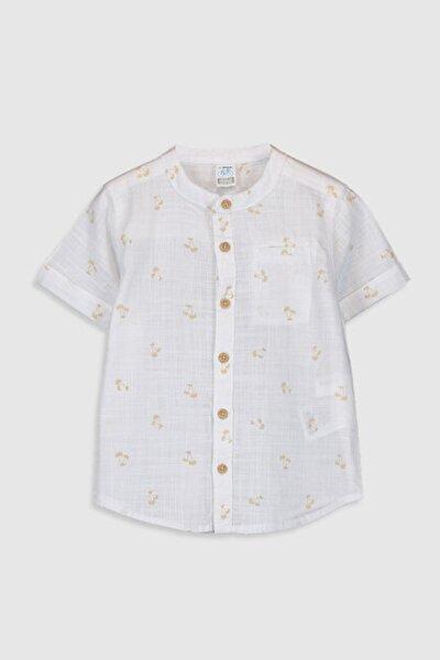 Erkek Bebek Sarı Baskılı Lug Gömlek