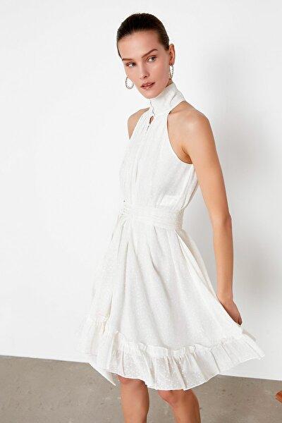 Kadın Ekru Düğme Şeritli Kuşaklı Elbise IS1200002480018