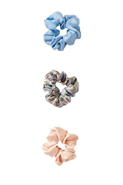 Kadın Açık Mavi 3'Lü Çiçek Desenli Ve Pötikareli Saç Lastiği Paketi 00237009