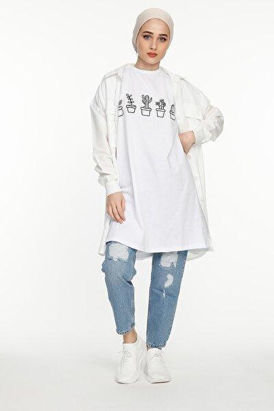 Kadın Kaktüs Detaylı T-shirt