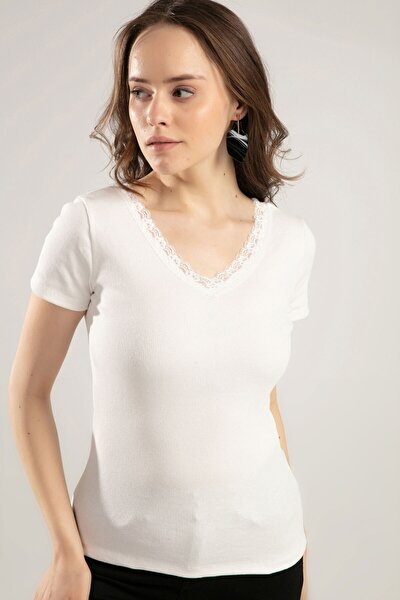 Kadın V Yaka Dantel Detaylı Tişört Y20s134-1527