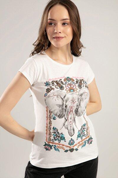 Kadın Fil Baskılı Kısa Kol Tişört Y20s150-1035