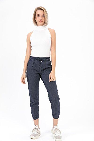 Kadın Lacivert Beli Paçası Lastikli Pantolon Y20013_PNT_891D_T_D1