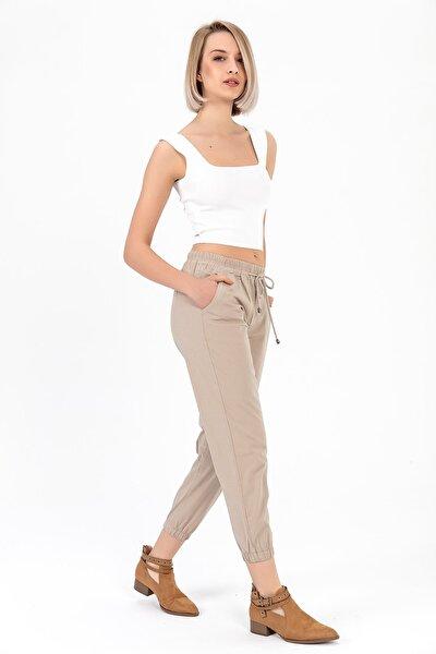 Kadın Vizon Beli Paçası Lastikli Pantolon Y20013_PNT_891D_T_D1