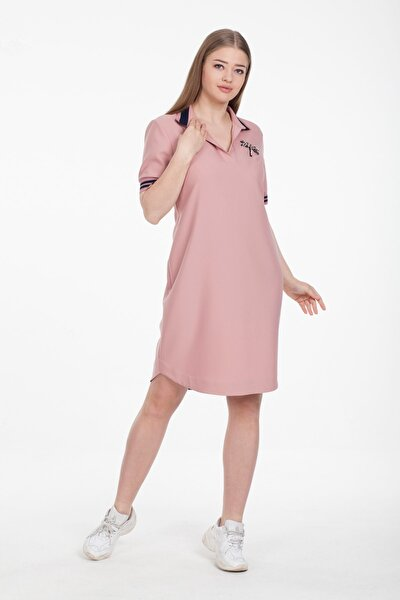 Taş Yusufçuk Işlemeli Ribana Detaylı Pudra Rengi Kadın Elbise 38100