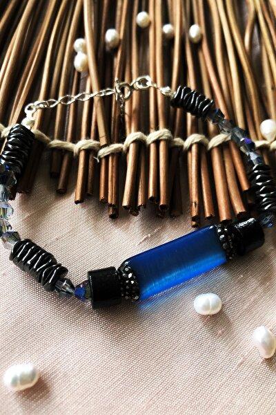 Luxury Collection Kedigözü, Kristal Ve Hematit Taşı 925 Ayar Gümüş Kadın El Yapımı Bileklik Lxdr72