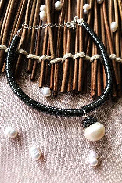 Dr Stone Luxury Collection Inci Ve Hematit Taşı 925 Ayar Gümüş Kadın El Yapımı Bileklik Lxdr30