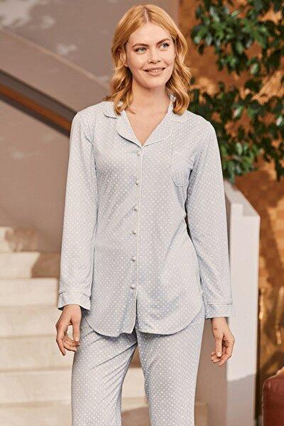Kadın Mikaela Mavi Önden Düğmeli Pijama Takımı