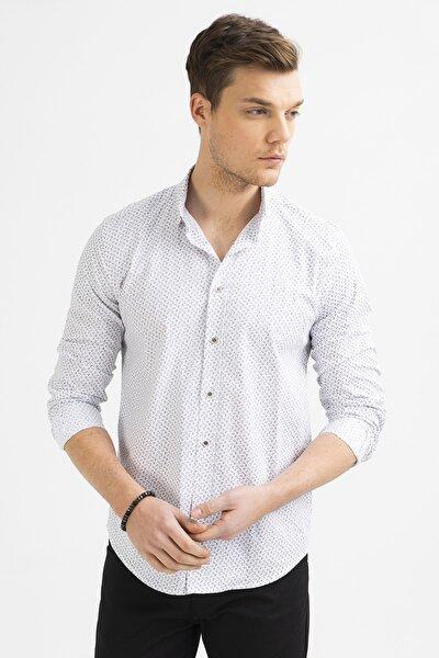 Erkek Beyaz Baskılı Düğmeli Yaka Slim Fit Gömlek A01S2220