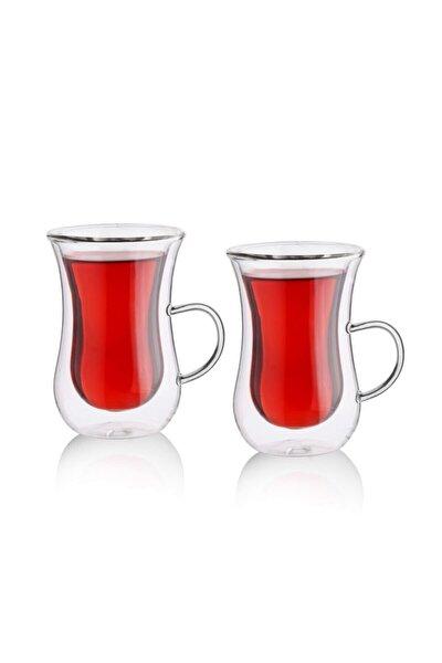 Çift Cidarlı Kulplu 2'li Çay Bardağı