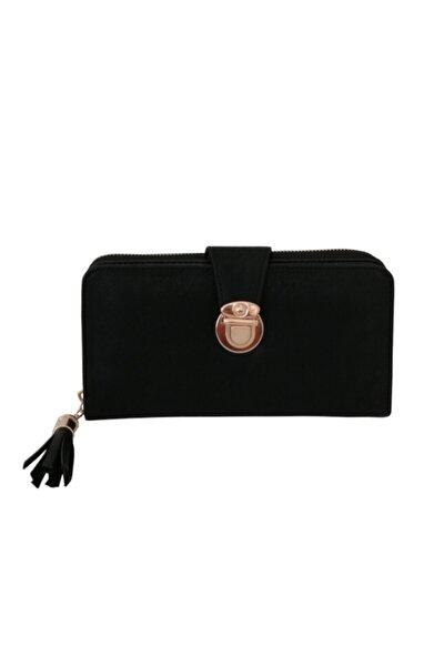 siyah kemer kilitli fermuarlı büyük cüzdan