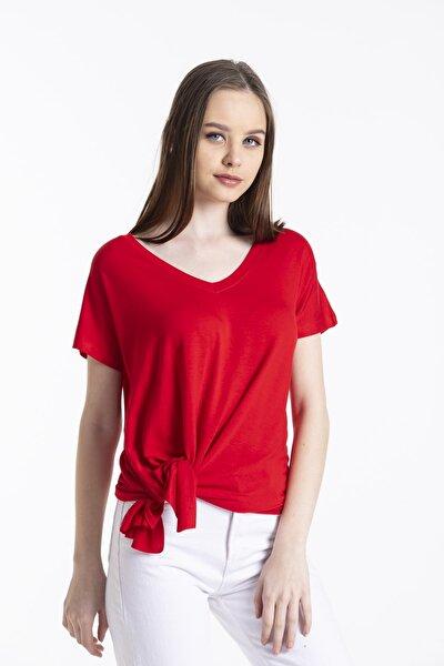 Kadın Asimetrik Kesim V Yaka Kısa Kollu Basic Tshirt