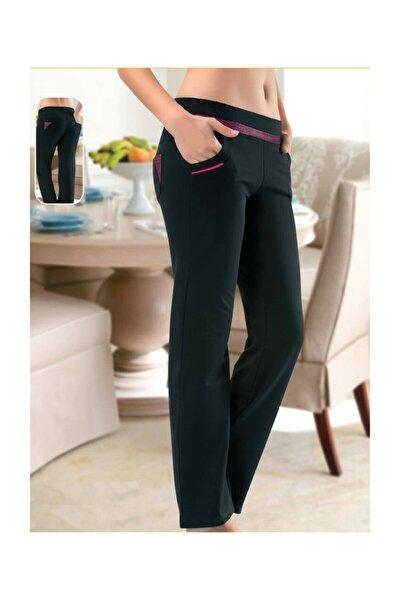 Bordo Detaylı Siyah Renk Jogger Pantolon