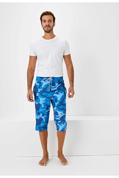 Erkek Mavi Kamuflaj Desenli Uzun Deniz Şortu