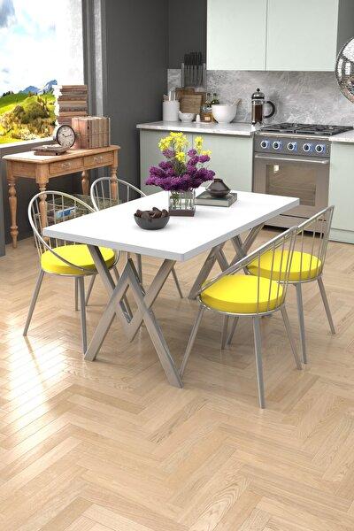 Eylül Silver 4 Kişilik Mutfak Masası Takımı Beyaz Sarı