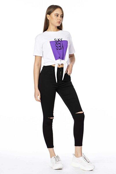 Kadın Siyah Dizi Yırtık Pantolon 330-20Y04008.91