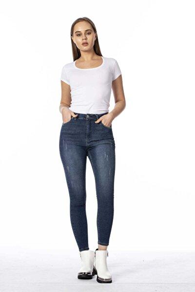 Kadın Mavi Yüksek Bel Pantolon 397-20Y04003.23