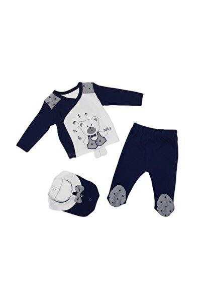 Erkek Bebek Lacivert Sevimli Ayıcık 3'lü Zıbın Takımı 2661