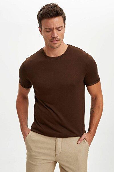 Erkek Haki Slim Fit T-Shirt